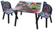 Marvels Avengers Childrens Wooden Table And Two Chairs Set - Kids Bedroom / Playroom