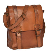Mens Small Leather Cross Body Organiser Messenger Bag Flap Closure HOL995 Brown