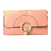 Womens Peach Envelope Clutch Bag With Gold Round Clasp
