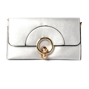 Womens Silver Envelope Clutch Bag With Gold Round Clasp