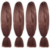 American Dream Premium Kanekelon Braid for Hair Weaves, Dreads and Avant Garde Creative Styling, Dark Rusty Copper, Pack of 4