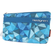 "Large purse 'Hedgren'turquoise triangles (3 compartments)- 19.5x11x2 cm (7.68""x4.33""x0.79"")."