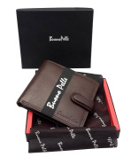 RFID BLOCKING Mens Designer BUONO PELLE Luxury Soft Veg Tan Leather Wallet With Secure Zip Coin / Note Pocket & ID Window Gift Boxed