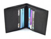 New Mens Black Leather Credit Card Holder Wallet ID Sheep Nappa