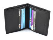 New Mens Black Leather Credit Card Holder Wallet ID Sheep Nappa