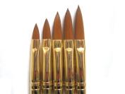 Five Season 5 x 2 Ways Spiral Tool Sable Acrylic Nail Art Brushes Pen Cuticle Pusher Plus Bonus Glitter Powder