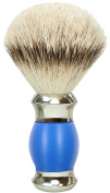 Shaving Brush, Blue, with silver-tipped