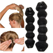 Lalang 2pcs Hair Buns Magic Hair Styler Twist Ring Former Shaper Doughnut Donut Chignon Bun Maker Clip Hair Curler Accessory