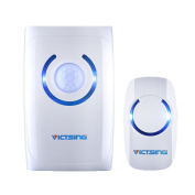 Wireless Doorbell, VicTsing Portable 4-in-1 Multi-function Cordless Doorbell Door Chime at 150m Range with 36 Chimes Tones, 3 Levels of Adjustable Volume & Blue LED Light - White