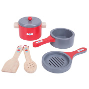 Bigjigs Toys Wooden Cooking Pans Set with Wooden Spoon and Spatula - Pretend Play and Role Play for Children