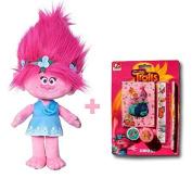 Poppy Plush Doll Trolls Soft Toy 38cm & 5 Pieces School Set