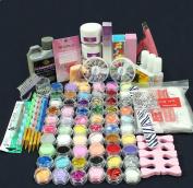 Full 60 Acrylic Powder Glitter Liquid Nail Art Kits Set Tip Brush Glue NAK-60A by Lillyvale