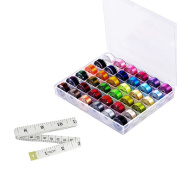 Sparklelife 36 Pcs Bobbins and Sewing Threads with Case and Soft Measuring Tape for Brother Singer Babylock Janome Kenmore