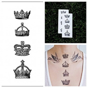 Tattify Crown Temporary Tattoo - God Save The Queen (Set of 2) - Other Styles Available and Fashionable Temporary Tattoos - Tattoos that are Long Lasting and Waterproof
