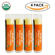 USDA Organic Lip Balm by Sky Organics - 4 Pack Citrus Lip Balms -- With Beeswax, Coconut Oil, Vitamin E. Best Lip Plumper Chapstick for Dry Lips- Adults & Kids Lip Repair. Made In USA