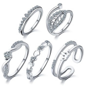 5 pcs /set Peach heart leaves crown suit ring Set