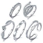 5 pcs /set Peach heart leaves crown suit ring Set