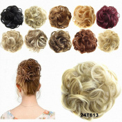 FESHFEN Ribbon Ponytail Hair Extensions Wavy Curly Messy Hair Bun Extensions Scrunchy Scrunchie Hair Bun Updo Hairpiece Donut Hair Chignons Hair Piece Wig-24T613 Pale Golden Blonde & Bleach Blonde