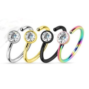 Multi colour,Gold I.P,Black Anodized and Surgical Steel Nose Ring with Clear Gem 20g 0.8cm Set of 4 By Eg Gifts