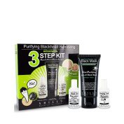 SHILL Purifying Blackhead Removing 3 Step Kit, Acne Treatment Facial Cleanser, Black Peel-off Mask