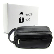 Mister Bag Leather Toiletry Bag Travel Toiletries Bag, Black