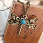 DGI MART Retro Feeling Vintage Design Jewellery Dragonfly Necklace Pendant with Chain
