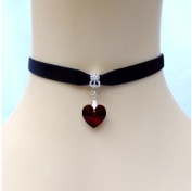 Top McKinley Lady Girls Velvet Choker Necklace Cute Handmade Love Heart Pendant (Red) by Top McKinley