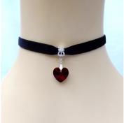 Top McKinley Lady Girls Velvet Choker Necklace Cute Handmade Love Heart Pendant (Red) by Top McKinley