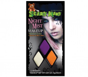 Scary Mary Night Mist Makeup Kit Halloween Gothic, White/Purple/Orange