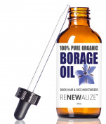Organic BORAGE SEED OIL LIQUID in LARGE 120ml Dark Glass Bottle with Eyedropper | 100% Pure Cold Pressed | All Natural Moisturiser for Skin , Face , Hair and Nails