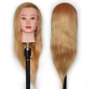 Mannequin Head 100% Human Hair 60cm Hairdresser Training Head Manikin Cosmetology Doll Head (Table Clamp Holder Included) HA2718P