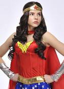 Ladies Wonder Woman Style Long Brown Wig