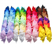 Big Elephant 40pcs Kids Baby Girls 8.9cm Alligator Clip Ribbon Hair Bows Clips BE052