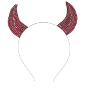 Lux Accessories Halloween Festive Red Rhinestone Bling Devil Horn Ears Headband