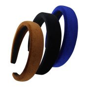 QtGirl 3 Pcs Alice Headbands 2.5cm Width 1cm Thick Black Brown Royal Hair Bands