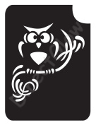 Owl On Branch 1003 Body Art Glitter Makeup Tattoo Stencil- 5 Pack