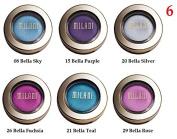 (Pack of 6) - VALUE PACK! - MIX of Milani Bella Eyes Gel Powder Eyeshadow, 08 Bella Sky- 15 Bella Purple- 20 Bella Silver- 21 Bella Teal- 26 Bella Fuchsia- 29 Bella Rose