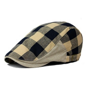 Plaid Men`s Flat Cap Irish Ivy Hat Cabbie Canvas hats Black
