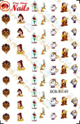 Disney Disney Beauty and the Beast Nail Art Decals. Clear Waterslide Nail Decals (Tattoo) Set of 60 by One Stop Nails BOB-001-60
