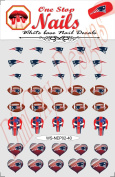 New England Patriots Vinyl Peel and Stick Nail Decals. Set of 40 Stickers with White Backgroung. V2