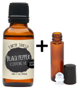 Earth Shield Black Pepper Essential Oil is 100% Pure and Therapeutic Grade - 30ml. Comes with FREE 10ml roller bottle