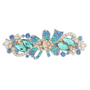 GSM Accessories Womens Rhinestone Holiday Ribbon Large Size Alloy Hair Clips Barrettes HC220-Blue