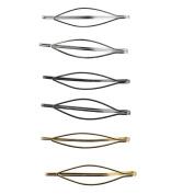 Lux Accessories Tri Colour Metal Geo Snap Hair Clips Set 6pcs