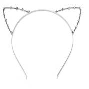 Top McKinley Honearn Cat Ear Headband Rhinestone Hair Band Cute Christmas Party Headwear for Girl Women