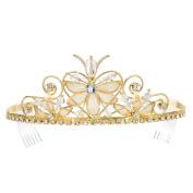 DcZeRong Gift Box Packed Elegant Princess Crystal Beads Heart Tiara Gold