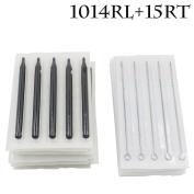 Yuelong 50pcs Disposable Sterile Tattoo 14rl Round Liner Needles & 15r Round Long Sterile Black Tips Stem Nozzle Tube