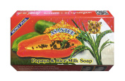 Asantee Natural Herbal Papaya with Rice Milk Honey Soap for Skin Whitening Face Organic Bar for Men & Women Body Lightening from Thailand 125g