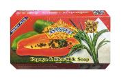 Asantee Natural Herbal Papaya with Rice Milk Honey Soap for Skin Whitening Face Organic Bar for Men & Women Body Lightening from Thailand 125g