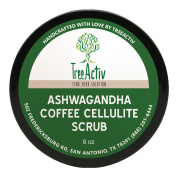 TreeActiv Ashwagandha Coffee Cellulite Scrub | Anti Cellulite Treatment | Natural Cellulite Remover from Legs and Body | Caffeine, Juniper Berry and Pink Grapefruit Essential Oil, Cocoa Bioferment 240ml
