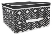 Ana Davis Lattice Printed Storage Box in Black and White